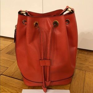 Vintage EUC Celine Coral Leather Bucket Bag